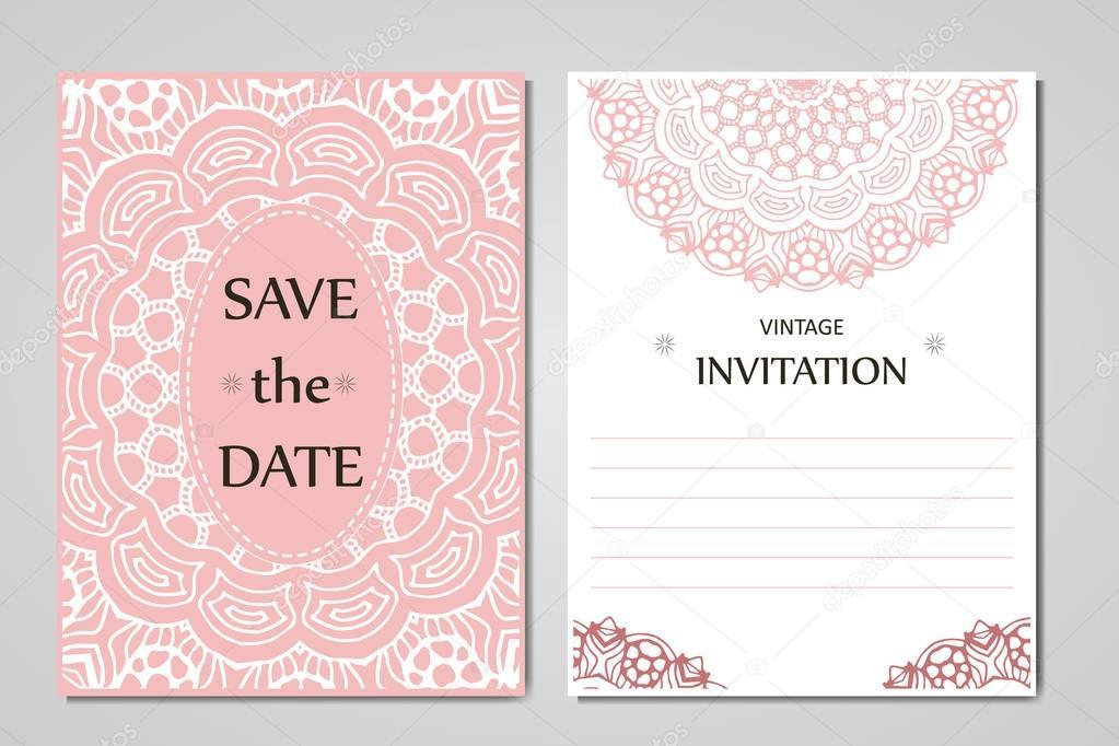 Colección de tarjetas de boda. Plantilla de tarjeta de la invitación ...