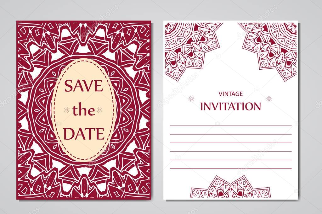 Template of wedding cards Round oriental lace ornament with