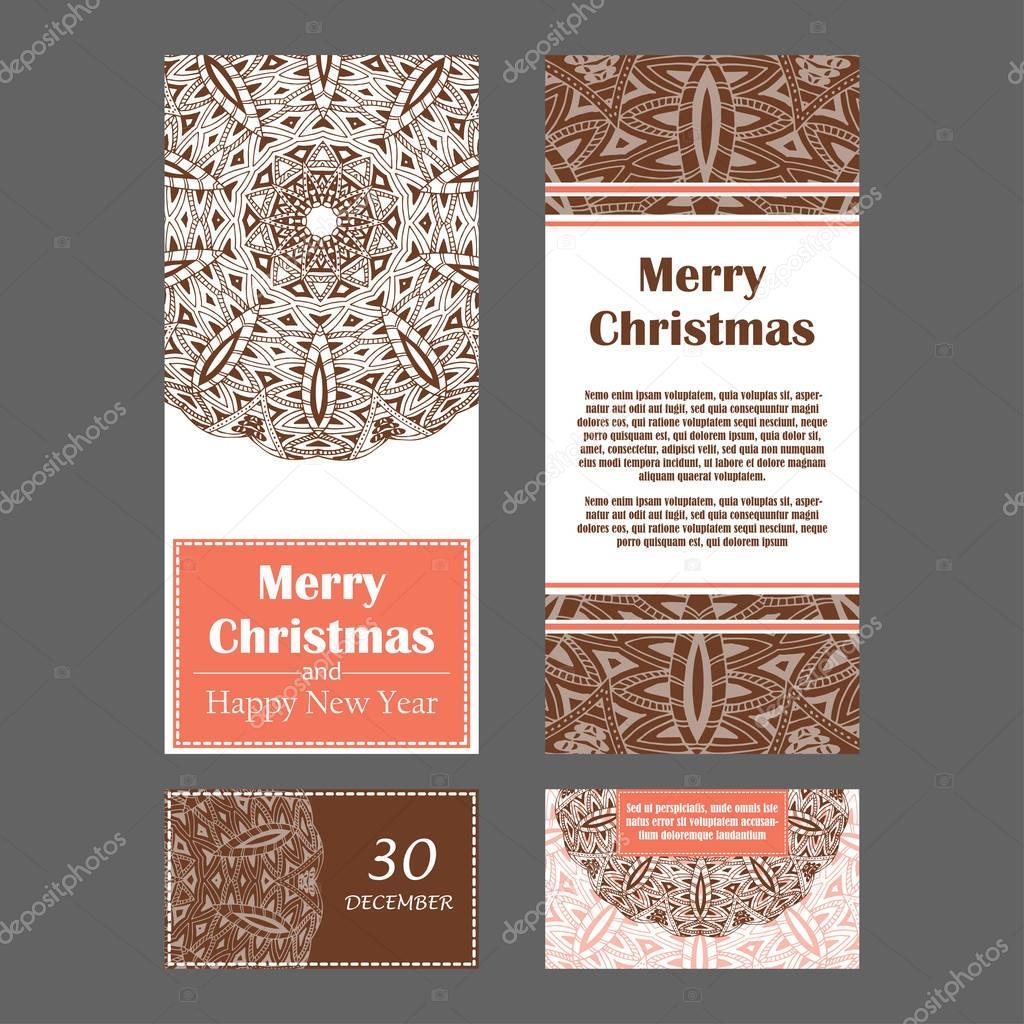 Weihnachten Einladungskarten Für Ihr Design. Retro Handgezeichnete Karte  Mit Mandala. Vintage Hintergrund Mit Platz Für Text.