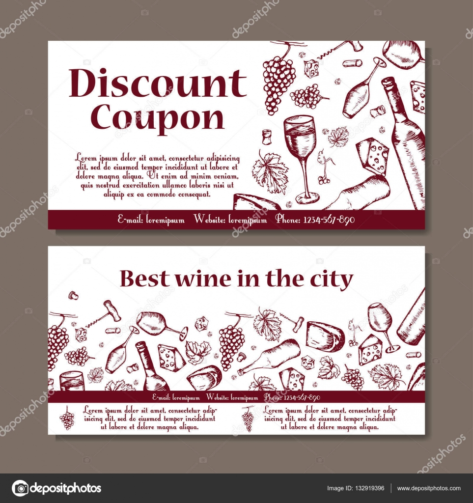 Vector Coupon Template For Beverages. Set Of Wine Banners With Sketches.  Illustration For Voucher