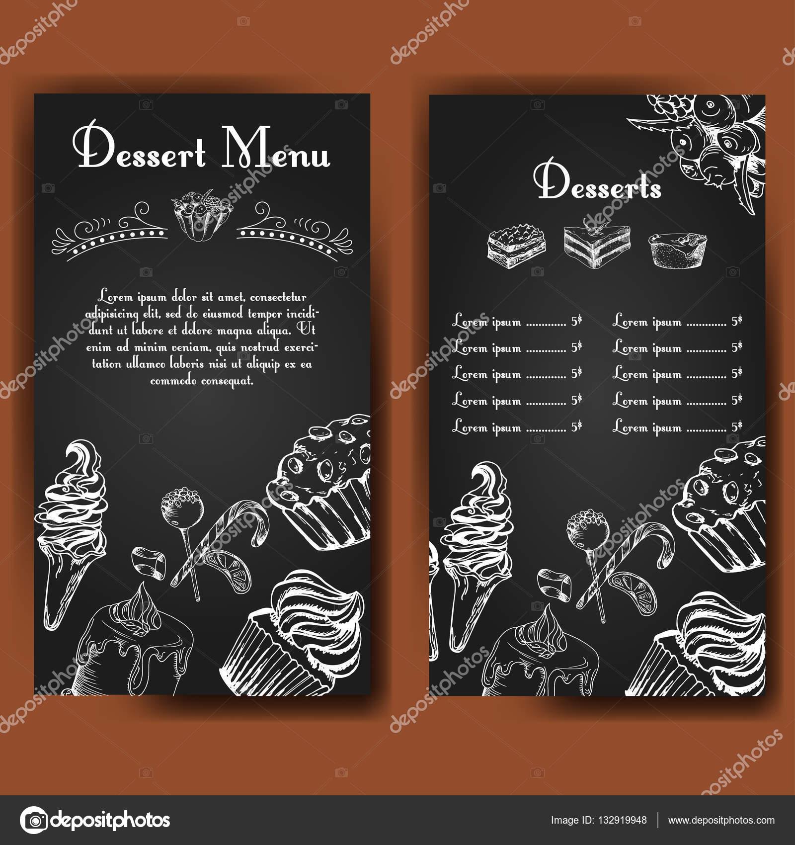 Plantilla para Carta de postres con pasteles sabrosos dulces ...