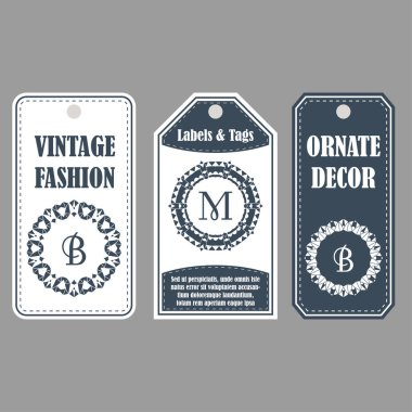 Eastern decor with monograms. Vintage set of ornamental tags. Template labels for cards.