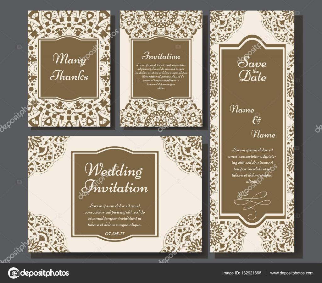 Colección de tarjetas de boda con mandala. Plantilla de tarjeta de ...