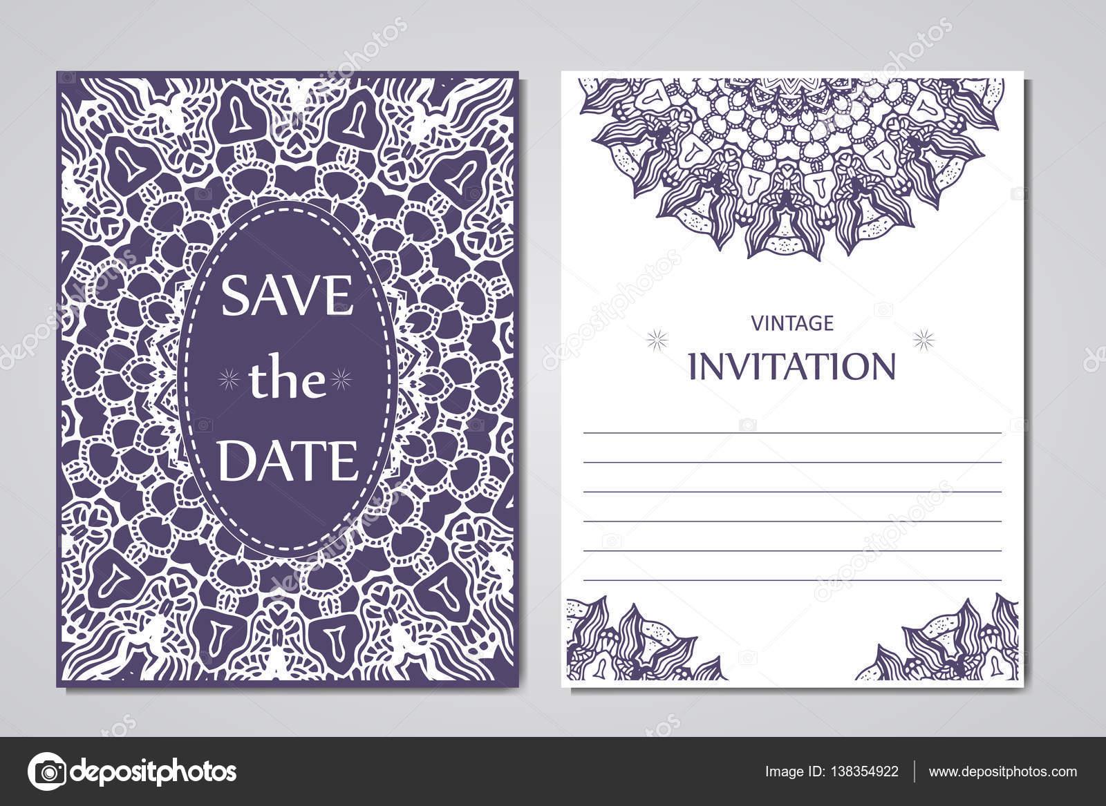 Vorlage von Hochzeitskarten. Runde Spitze orientalischen Ornament ...