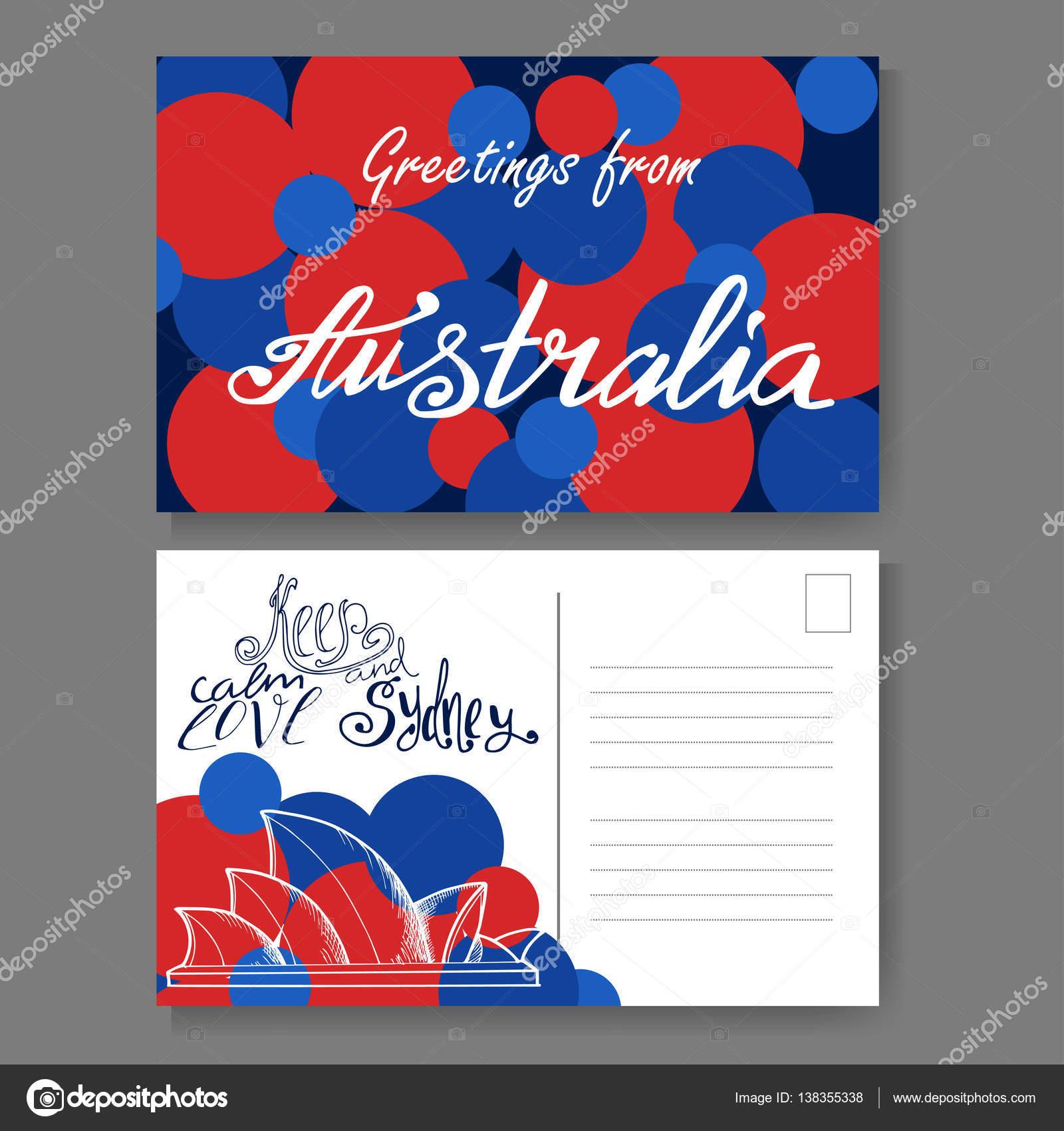 Postkarte aus Sydney. Hand gezeichnet Schriftzug und skizzieren ...