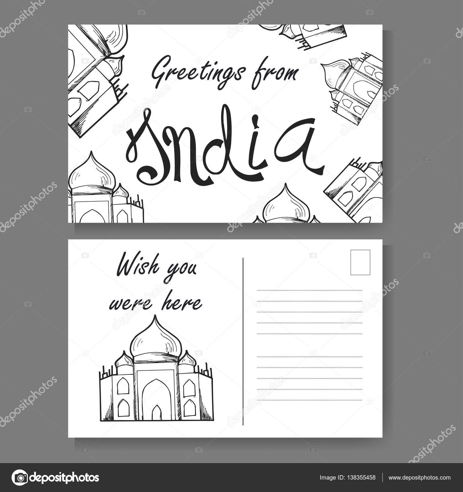 Postcard from delhi hand drawn lettering and sketch greetings postcard from delhi hand drawn lettering and sketch greetings from india vector illestration kristyandbryce Choice Image