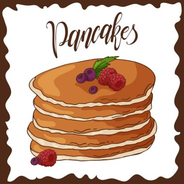 Hand drawn pancakes with strawberries. Vector illustration with lettering. Poster for menu or label design