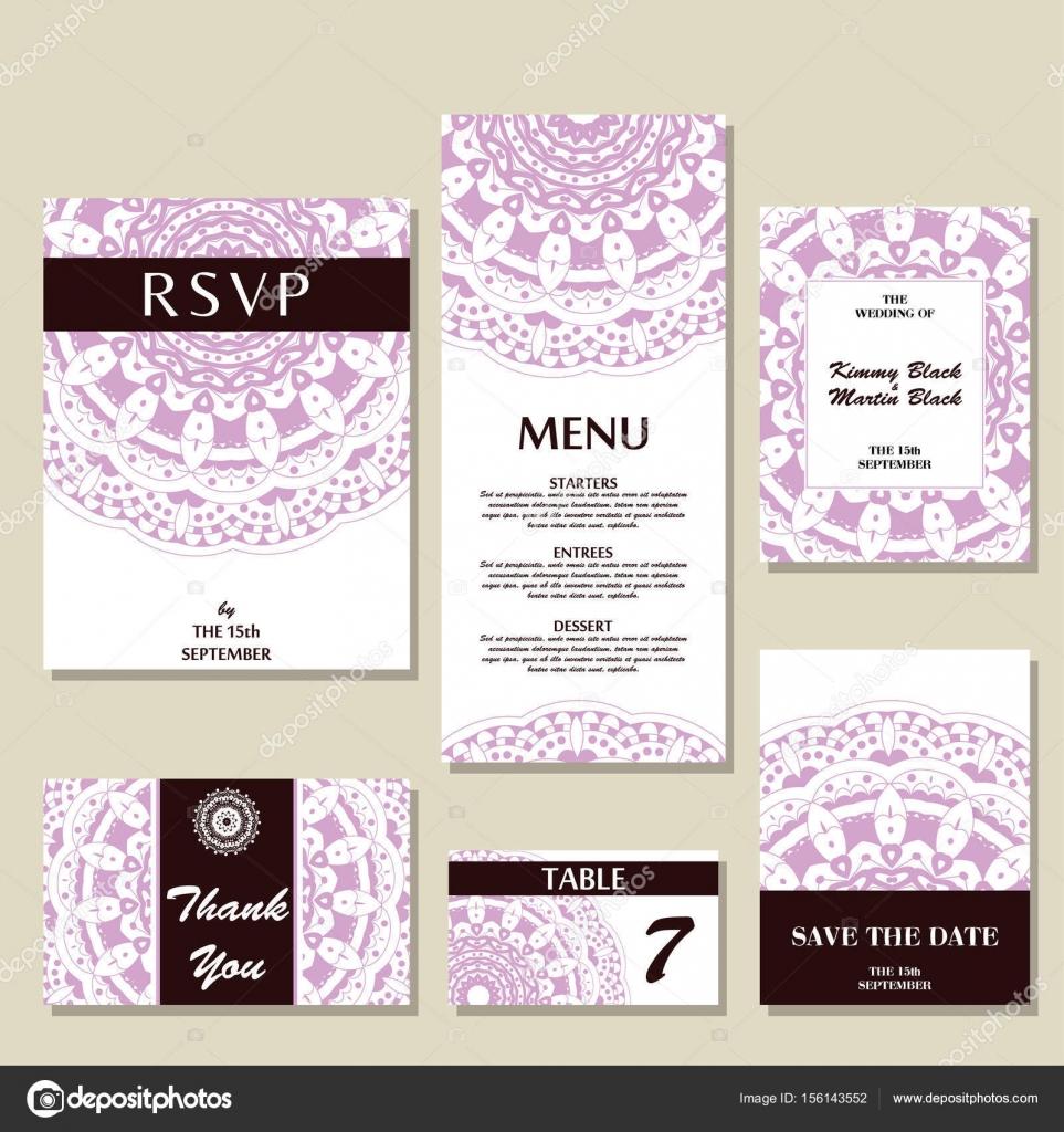 Satz Von Hochzeitseinladungen. Hochzeit Karten Vorlage Mit Individuelles  Konzept. Design Für Einladung, Dankeschön