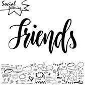 Vektor slovo sociální média. Písma pro váš blog. Ručně tažené prvky pro dekorace