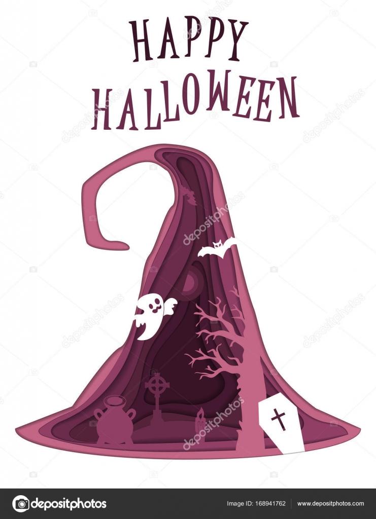 Happy Halloween-Poster-Design. Vektor-Vorlage mit Papier schneiden ...