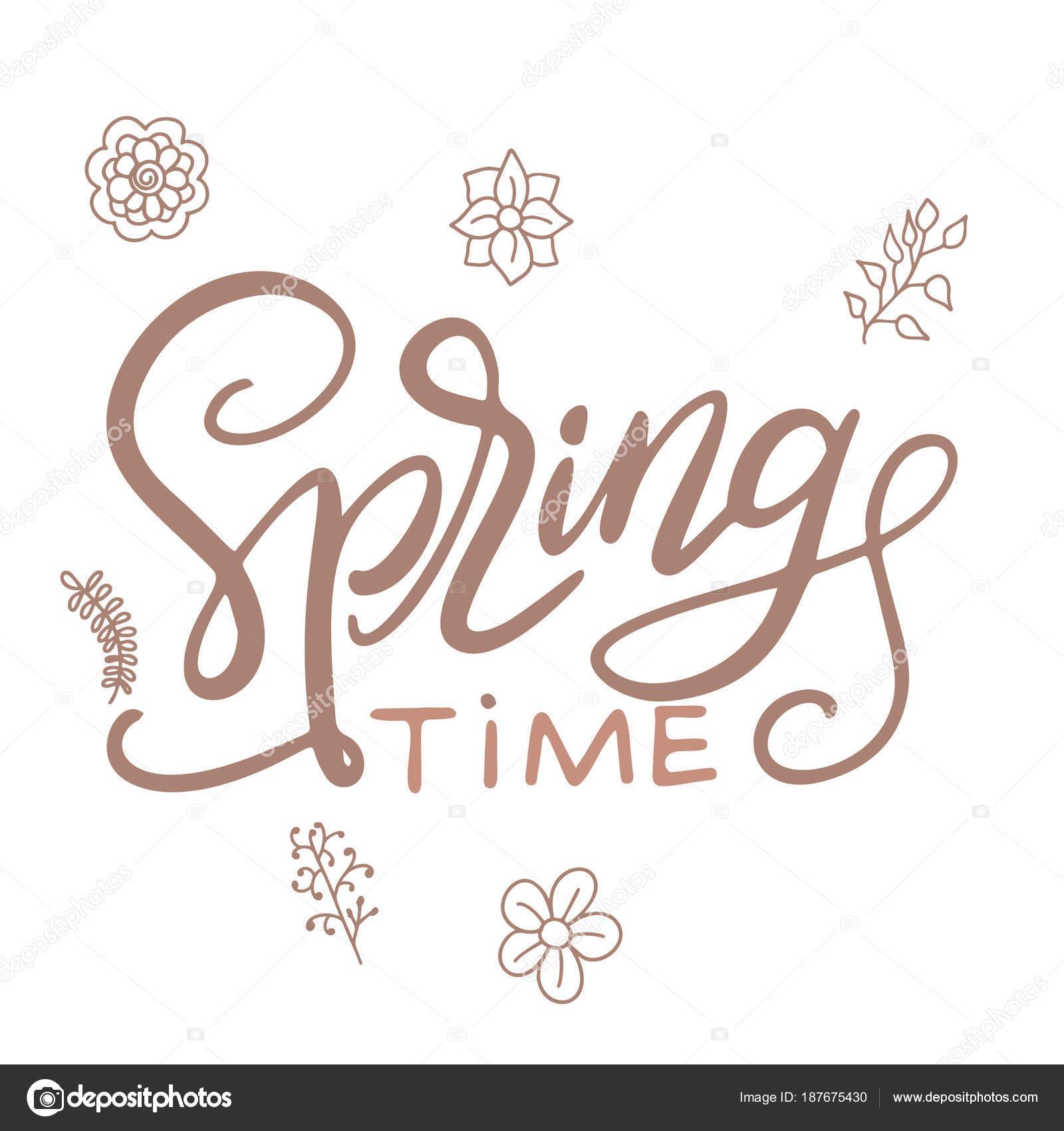 Letras de Feliz primavera. Plantilla de tarjeta de felicitación ...