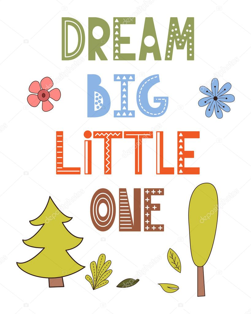 Poster in scandinavian style with cute animals. Vector card with lettering. Unique hand hrawn nursery design for your kid