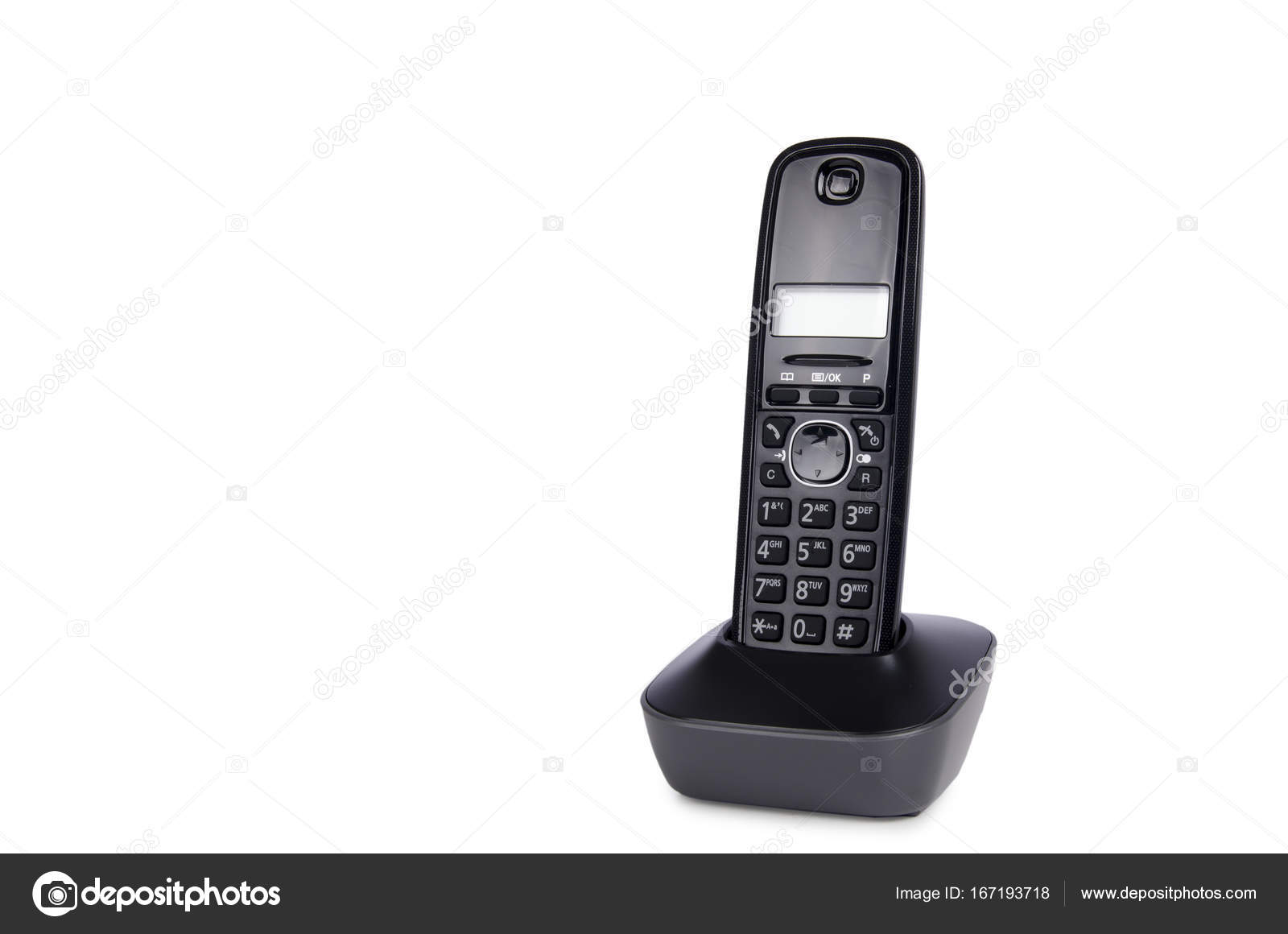 Modern cordless dect phone with charging station and display — Stock ...
