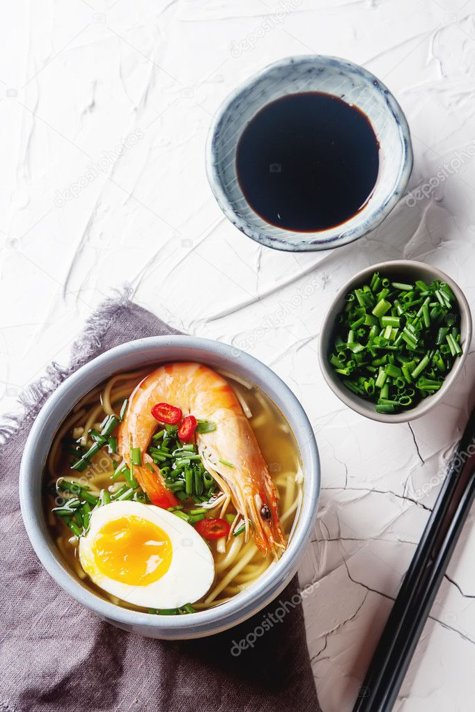 miso ramen asian noodles with egg shrimp green onions chili p