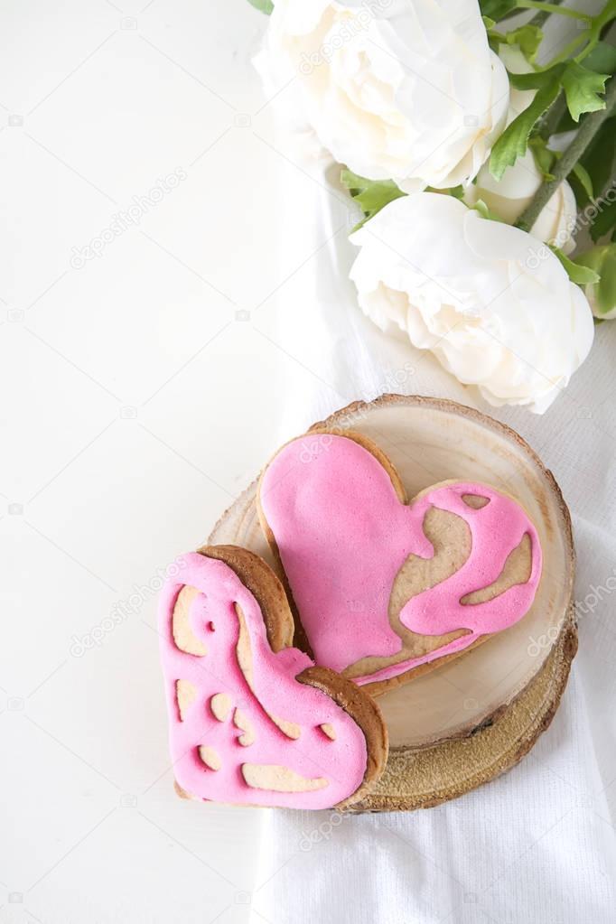 Heart cookie. St. Valentine's Day, Wedding. Bright white backgro