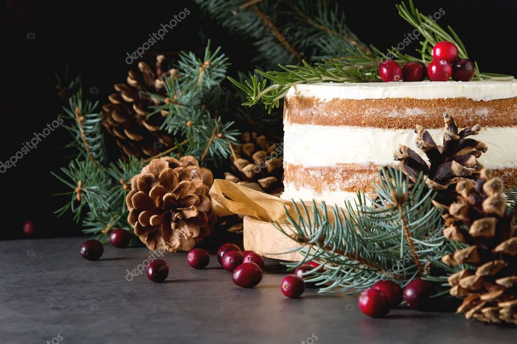 Christmas biscuit cake, Christmas tree branches, toys. A delicio