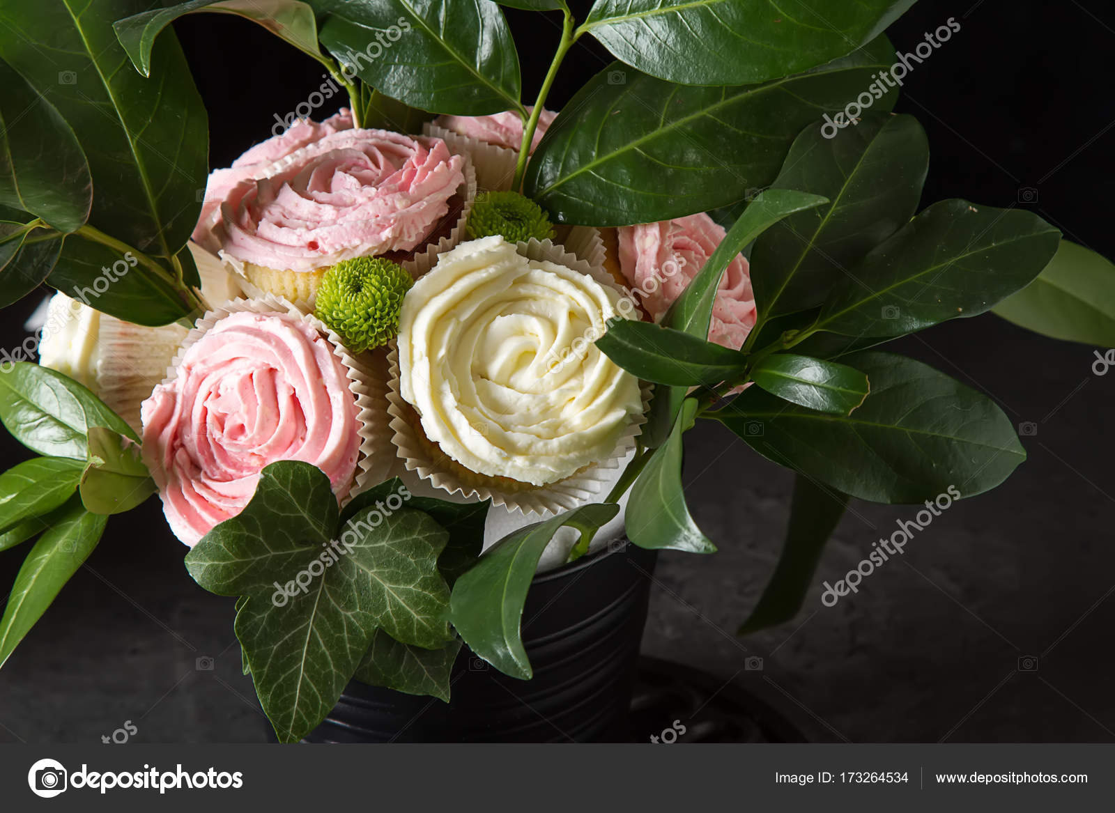 Bouquet Of Cupcake And Green Leaves In A Black Flowerpot Dark B
