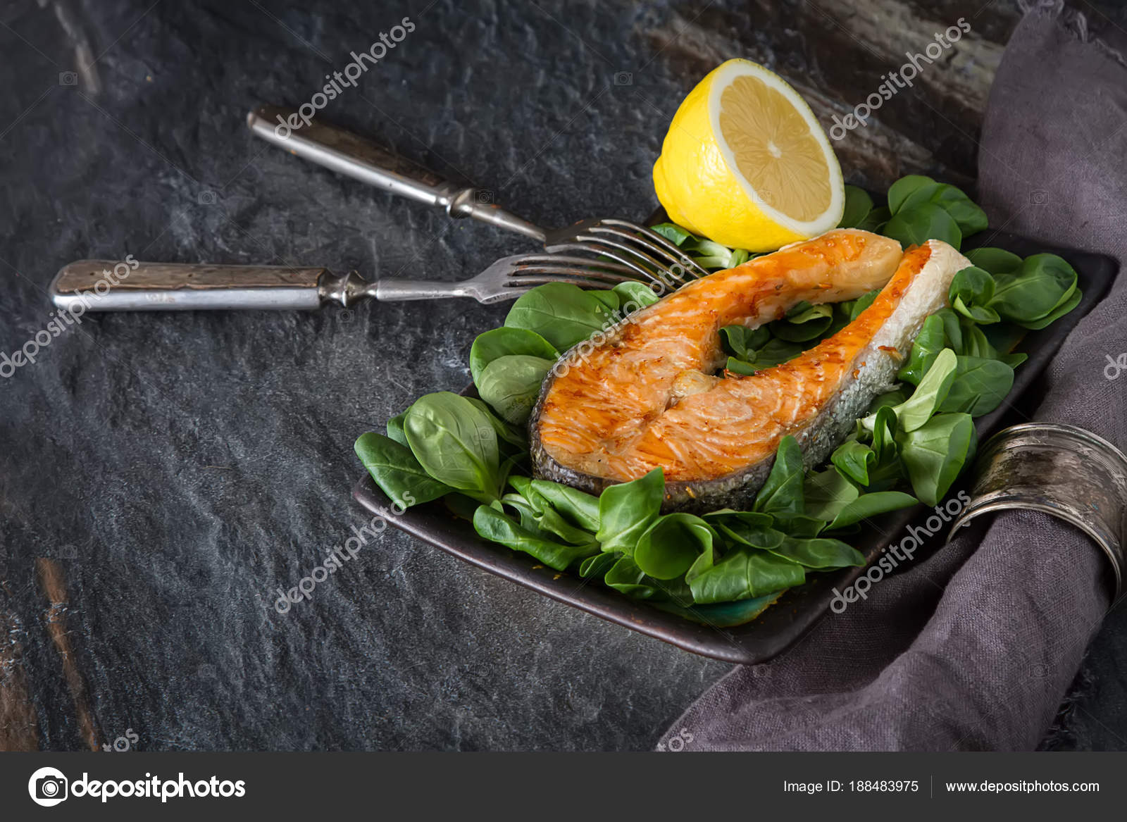 Grilled Salmon Steak Lemon Spices Cooked Fresh Fish Restaurant Menu