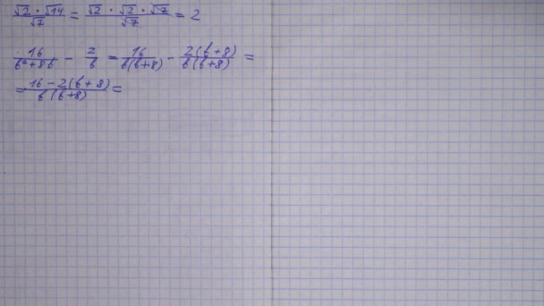 Stop-motion of writing maths in a notebook