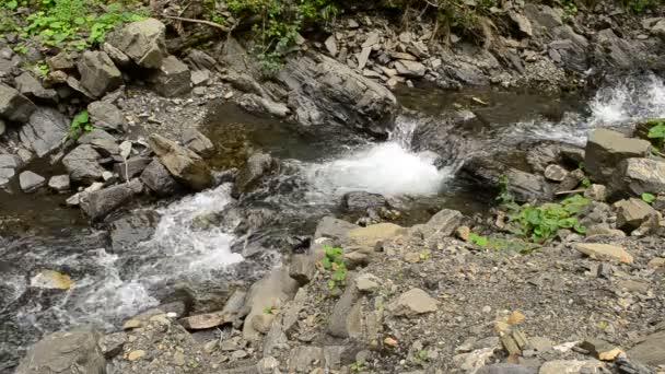 Horské řeky s peřejemi, malé vodopády a pěny