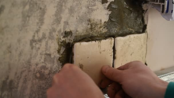 Händen Der Fliese Arbeiter Quadratische Fliesen Kleben An Der Wand - Fliesen auf putz kleben