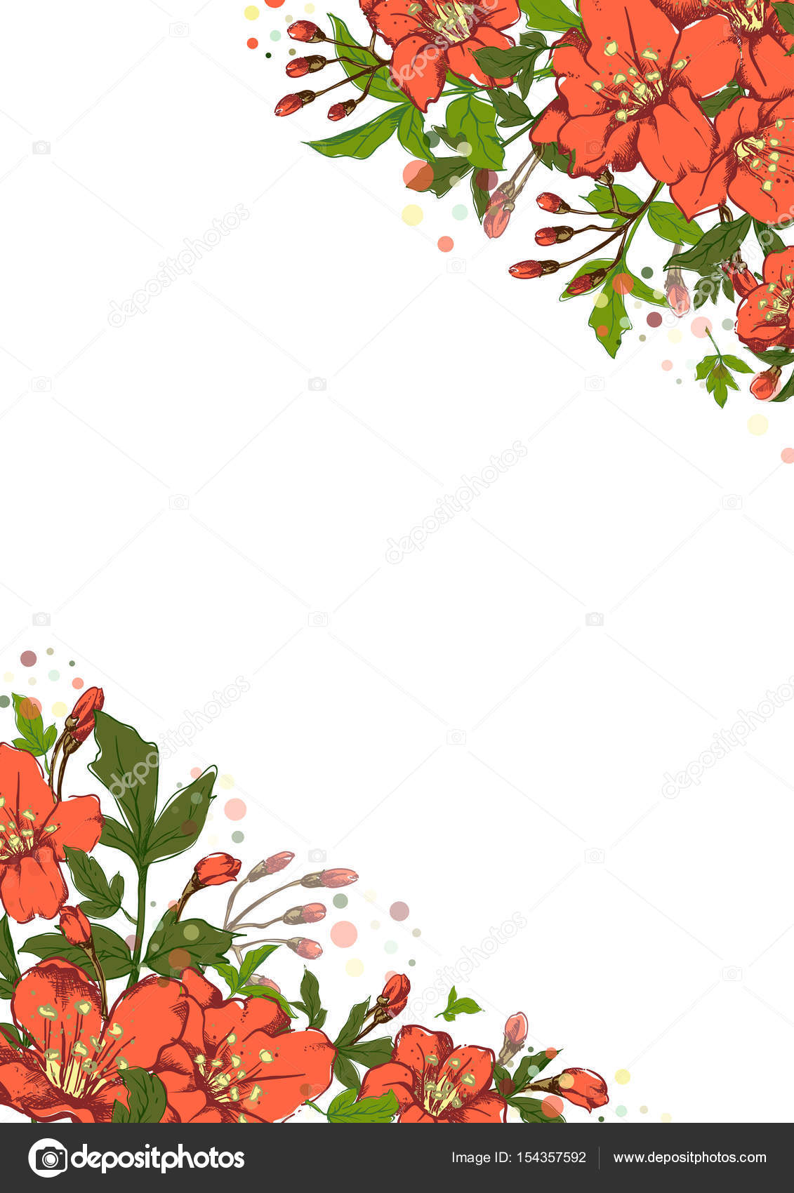 Bandiera Botanica Verticale Di Vettore Con I Fiori Disegnati A Mano