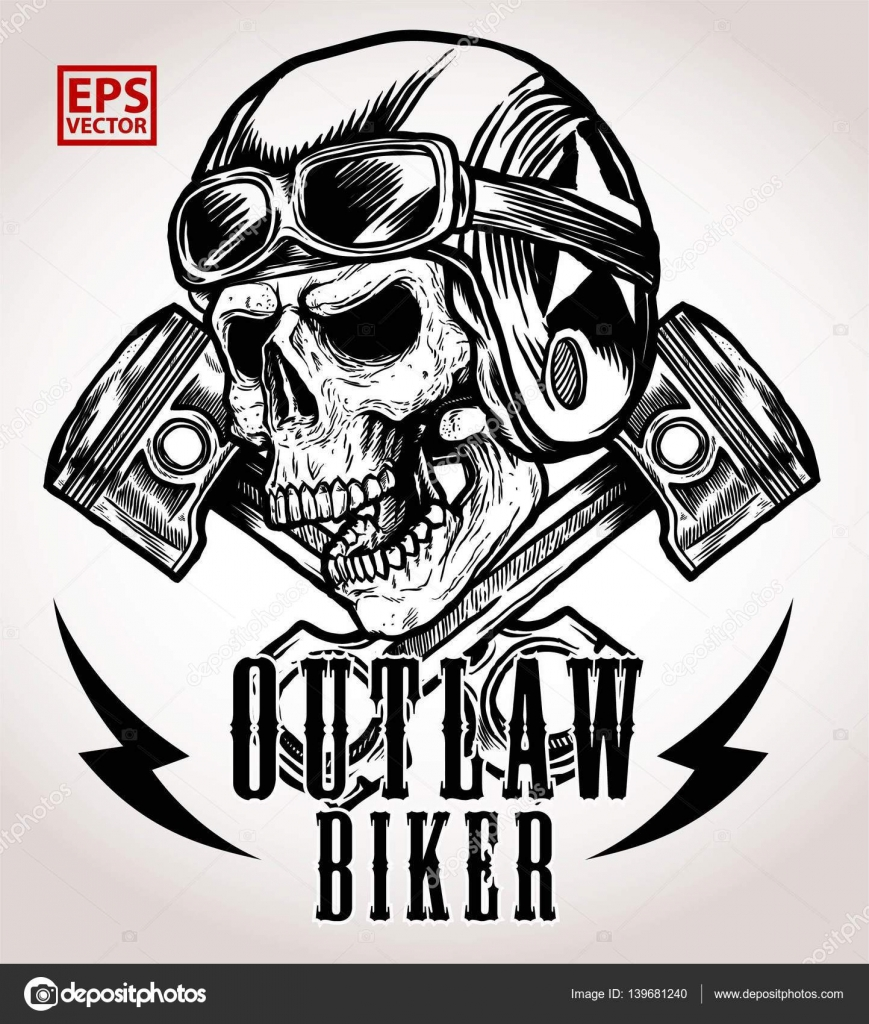 51c69dde15820 VINTAGE BIKER SKULL VECTOR WITH CROSSED PISTON — Stock Vector ...