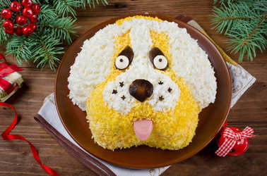 Salad in a shape of a funny dog