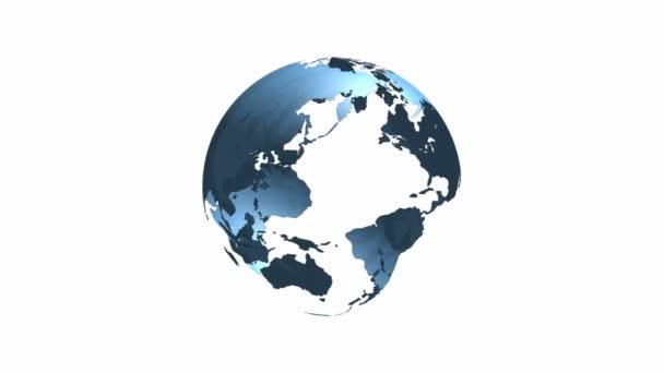 Loop modrá transparentní 3d otáčení zeměkoule svět