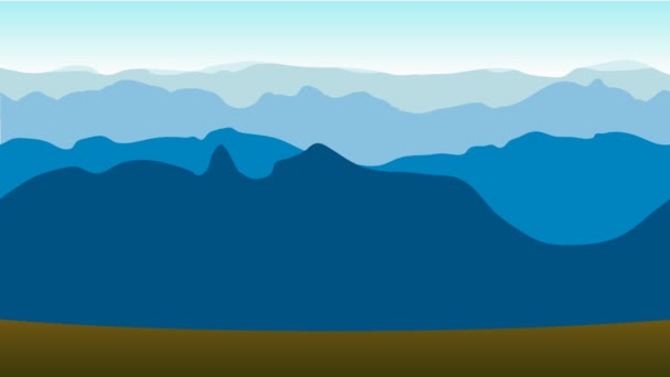 Cartoon ride near the mountains. Animated road in the evening with space for your object, text or logo.