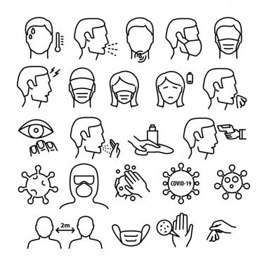 Flu And Coronavirus Symptoms Medical Collection Icons Set Vector Thin Line. Chills And Fever, Cough And Runny Nose, Flu Virus In Lungs And Stomach Linear Pictograms. Contour Illustration. icon