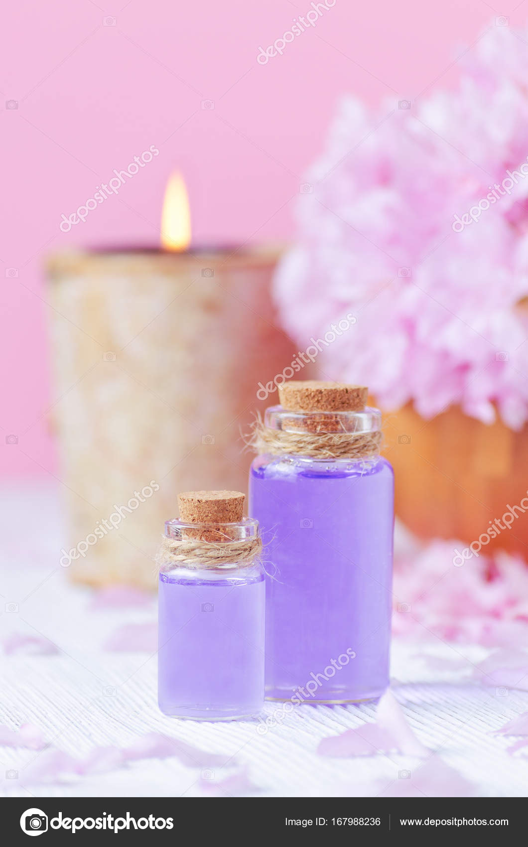Pink Color Spa Concept Lavender Oil Vertical Stock Photo