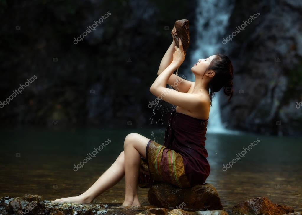 Asian woman in nature relaxation