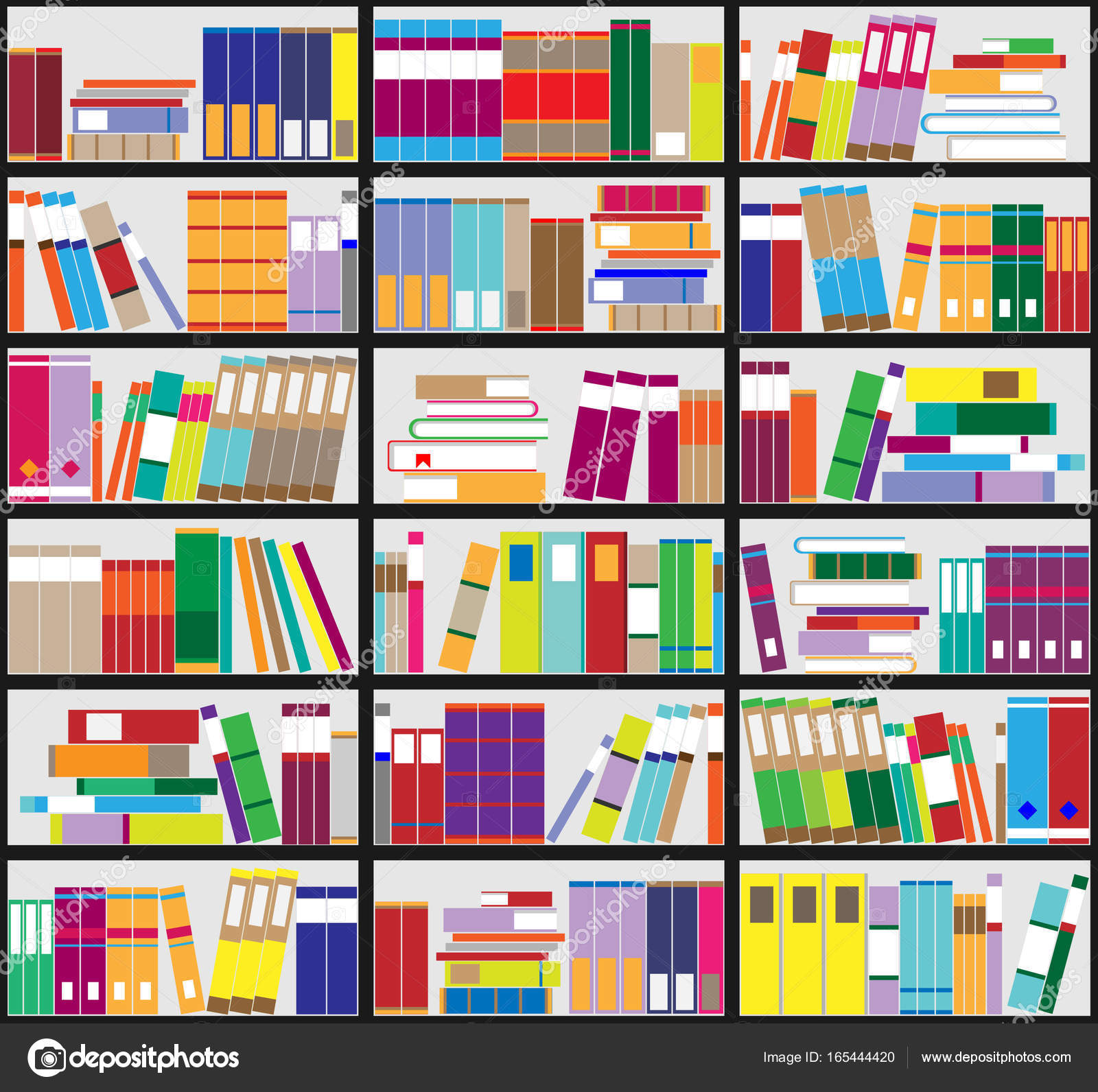 Bookshelf Background Shelves Full Of Colorful Books Home Library With Vector Close Up Illustration Cartoon Design Style By Ann Minsk