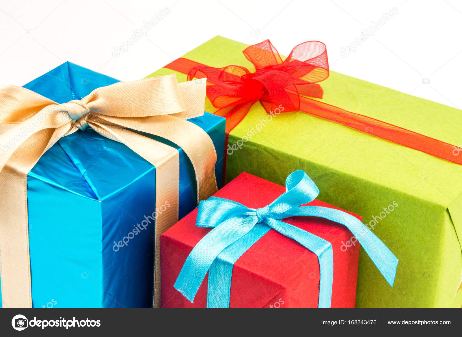 Big Pile Of Colorful Wrapped Gift Boxes Isolated On White Background