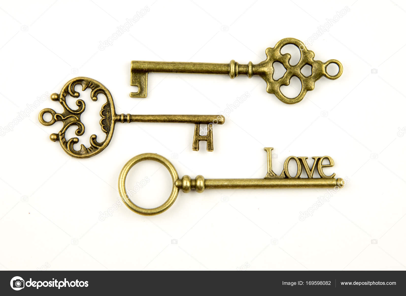 ... with intricate forging composed of fleur-de-lis elements victorian leaf scrolls and heart shaped swirls. antique golden door key u2014 Photo by ann_minsk  sc 1 st  Depositphotos & Ornamental medieval vintage keys with intricate forging composed of ...