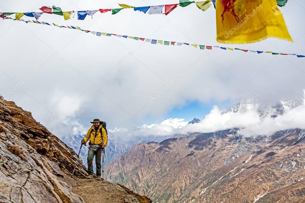 Man approaching to Mountain Pass