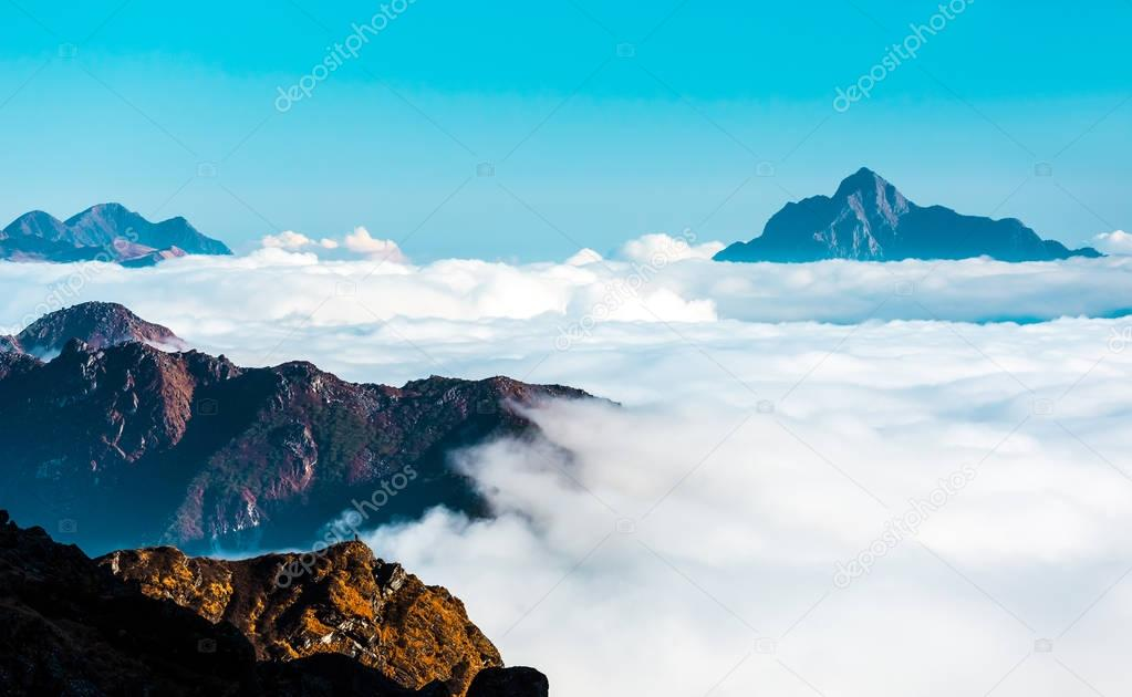 Clouds Layer in Horizon in Mountains