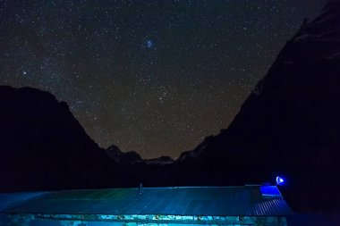Mountain Lodge Roof at Night