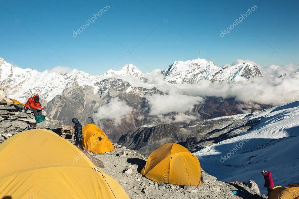 Orange Tents of high Altitude Camp