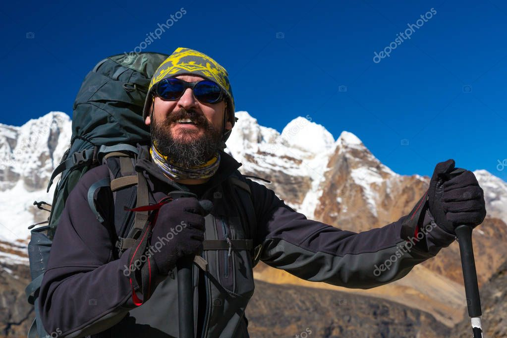 Bearded Hiker staying on Mountains