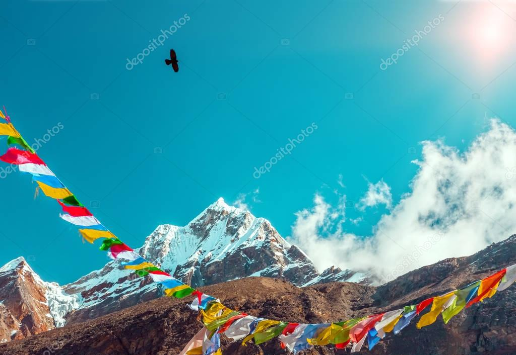 Nepalese Prayer Flags in Mountains