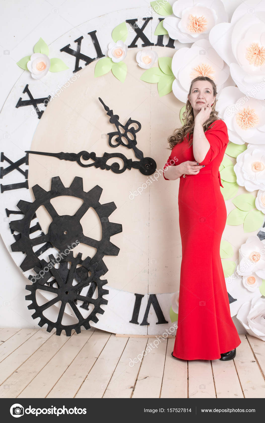 018d61665 Ugly domineering woman is posing in red dress — Stock Photo © keleny ...