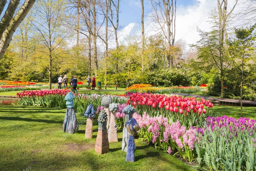 Park of flowers Keukenhof and people in it
