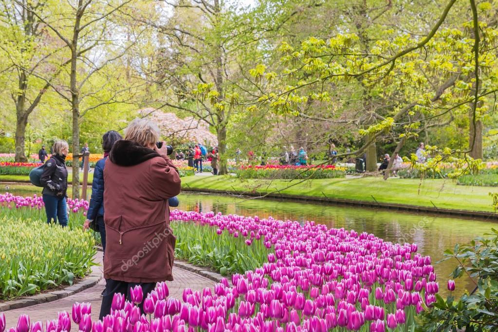 People in the park of flowers Keukenhof