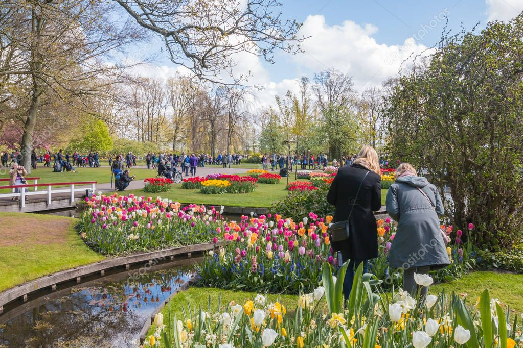 People in the park of flowers Keukenhof