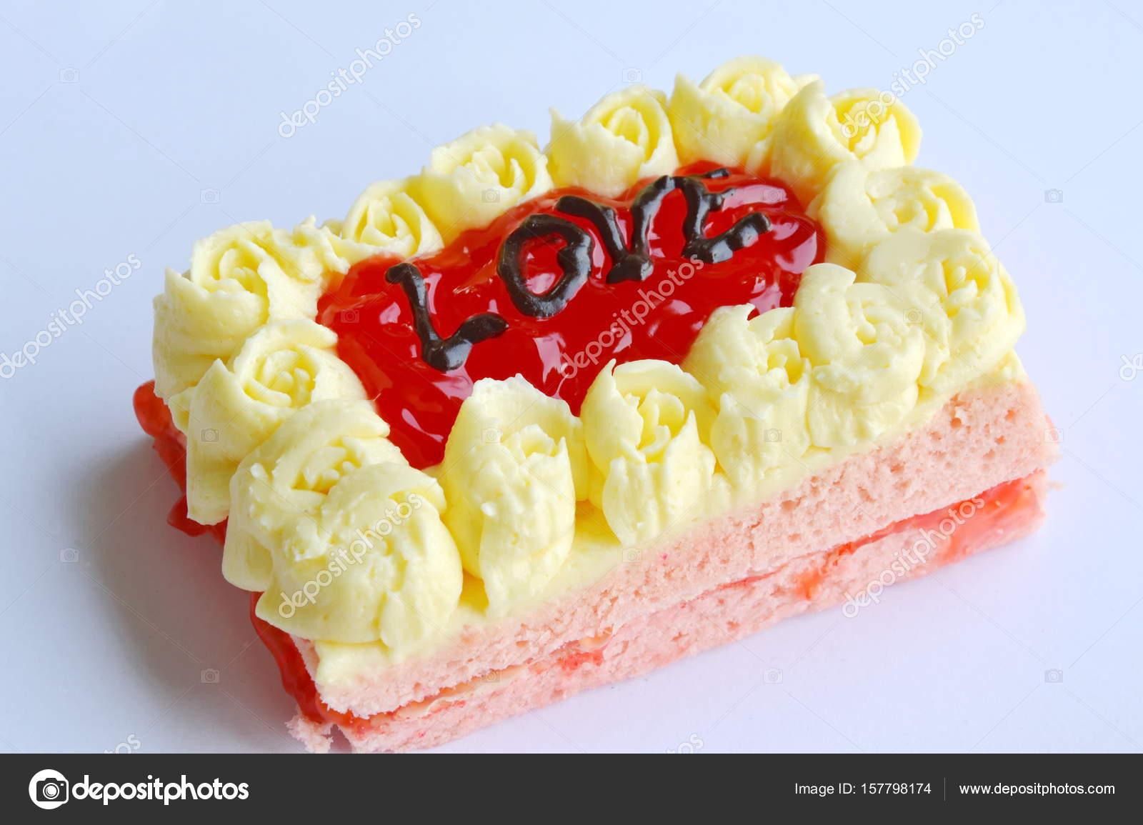 Erdbeer Butterkuchen Dekorieren Liebe Zum Valentinstag Stockfoto