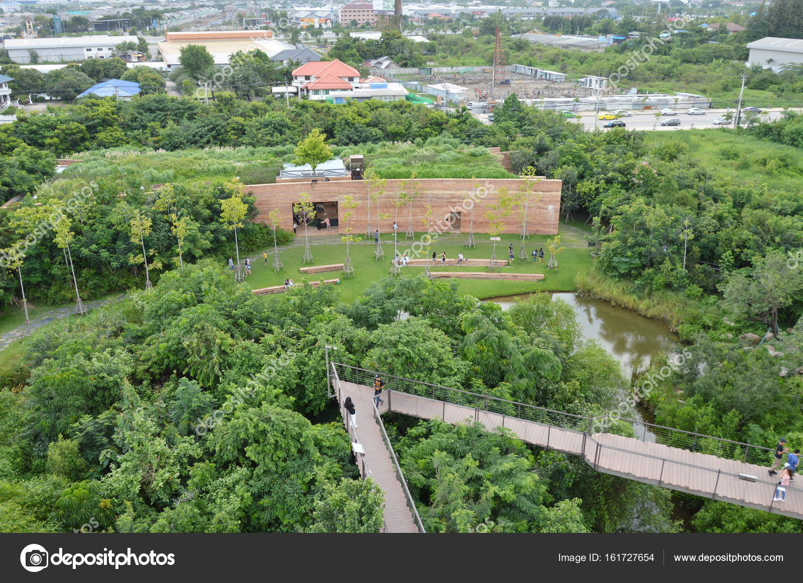 Top view of project forest in the city Thailand – Stock