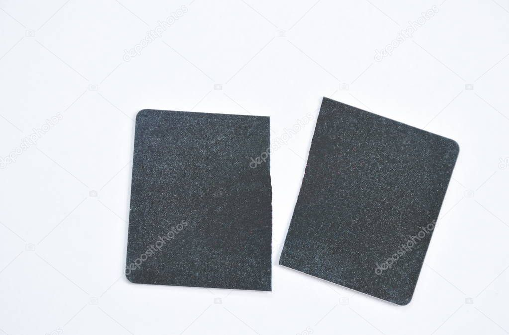 black card cutting on white background