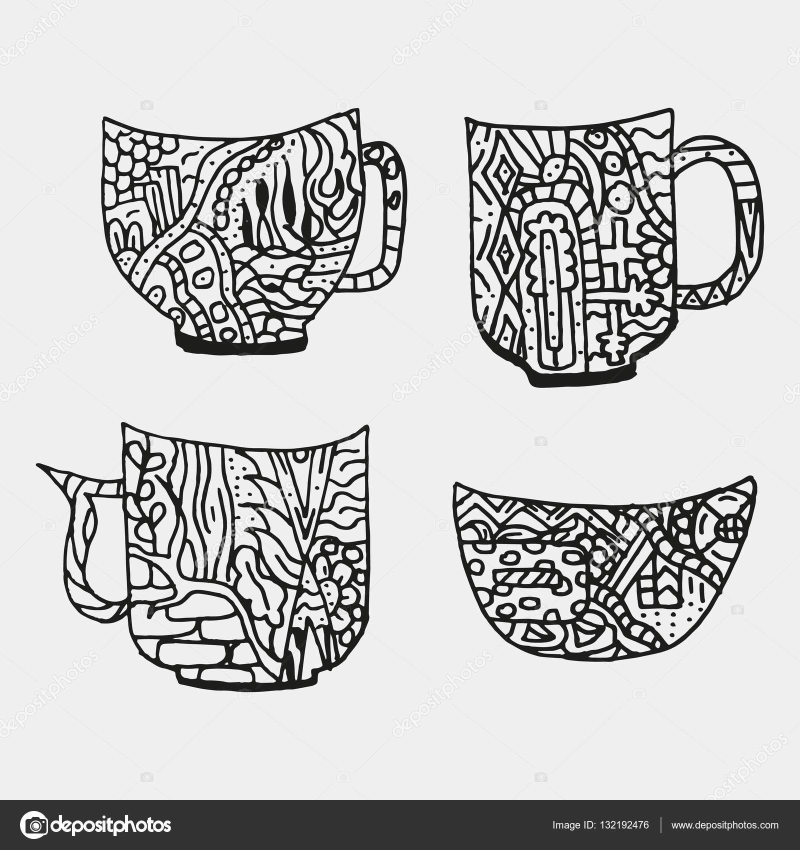 Set de tazas con figuras abstractas. Página de libro para colorear ...